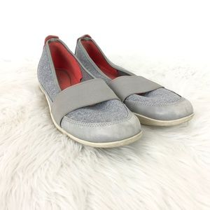 Ecco Gray Knit Mary Jane Slip-on Comfort Shoes